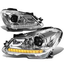 Replacement for 12-15 Mercedes Benz C-Class W204 Chrome Housing Projector Headlight w/3D Crystal Amber LED Signal - Pair
