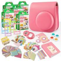 FUJIFILM INSTAX Mini Instant Film (X5) (100 Exposures) + FUJIFILM INSTAX Flamingo Pink 168 Piece Accessory Bundle W/Camera Case, Selfie Lens, Photo Album, Decorative Stickers, Frames & More