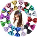 16PCS Sequin Hair Bows Clips 5Inch Large Big Sparkly Glitter Reversbile Sequin Bows Alligator Hair Clips Rainbow Hair Bows Hair Accessories for Baby Girls Toddlers Kids Chidlren Teens