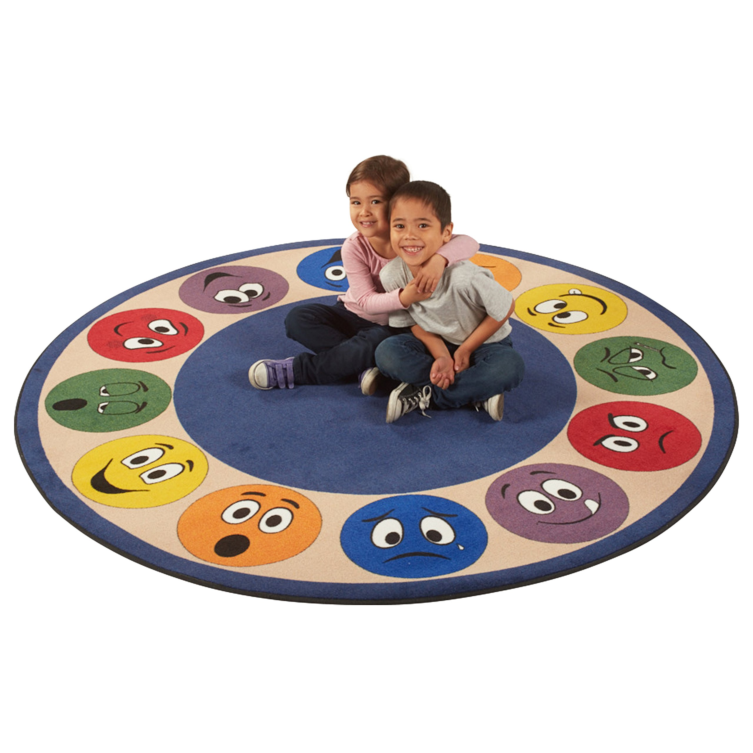 ECR4Kids Expression Educational Circle Area Rug for Children, Kids' Carpet for School/Classroom/Home, 6-Feet Round, Assorted Colors