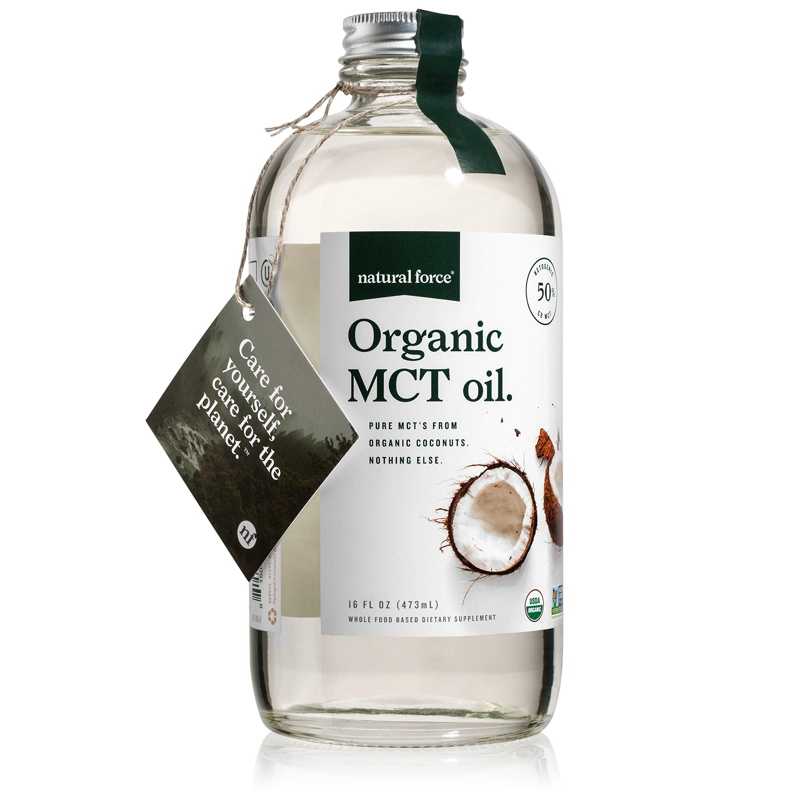 USDA Organic MCT Oil in 16 Oz Glass Bottle, Best for Keto Diet Recipes – Full Spectrum C8 C10 C12 Pure Coconut MCTs – Premium Quality & Non-GMO *Sustainable Packaging* by Natural Force, 16 Ounce