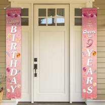 PAKBOOM Happy Birthday Cheers to 9 Years Pink Yard Sign Door Banner 9th Birthday Decorations Party Supplies
