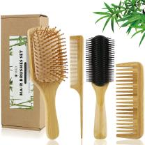 4 Pcs Bamboo Hair Brushes With Paddle Brush, 9-Row Brush and Comb Set Massage Scalp Drying & Styling Detangling, Defining Curls Natural Eco-Friendly No Bristle, For Women Men and Kids Gift kit
