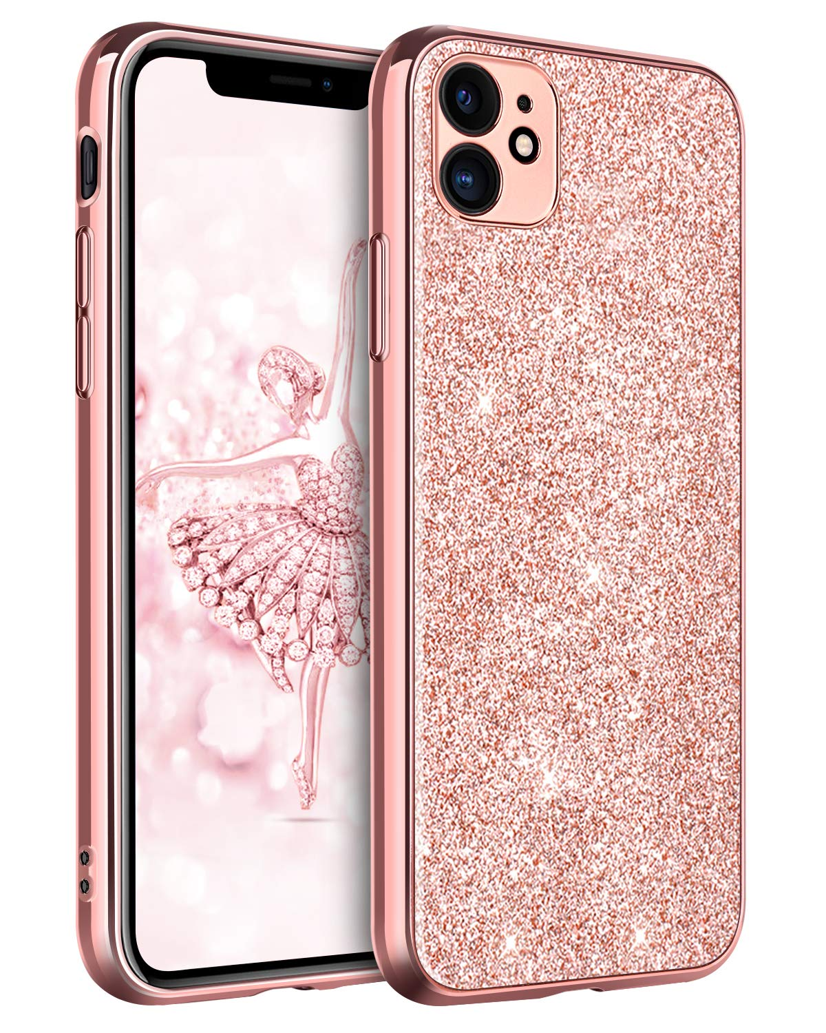 """DUEDUE iPhone 11 Case Bling, Sparkly Glitter Slim Hybrid Hard PC Cover Shockproof Non-Slip,Glitter Full Body Protective Phone Cover Case for iPhone 11 6.1"""" 2019 for Women/Girls,Rose Gold"""