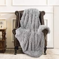 "ST. BRIDGE Faux Fur Throw Blanket, Super Soft Lightweight Shaggy Fuzzy Blanket Warm Cozy Plush Fluffy Decorative Blanket for Couch,Bed, Chair (Grey, 50""x60"")"