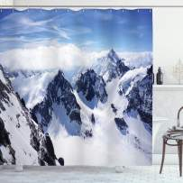 """Ambesonne Winter Shower Curtain, Snowy Mountain Peaks Tops High Lands Northern Scenic Alps Panorama Valley Print, Cloth Fabric Bathroom Decor Set with Hooks, 70"""" Long, White Blue"""