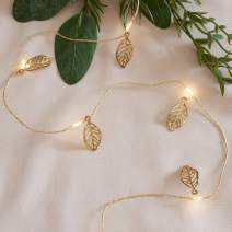Lights4fun, Inc. 20 Gold Leaf Battery Operated Micro LED Fairy String Lights on Gold Wire