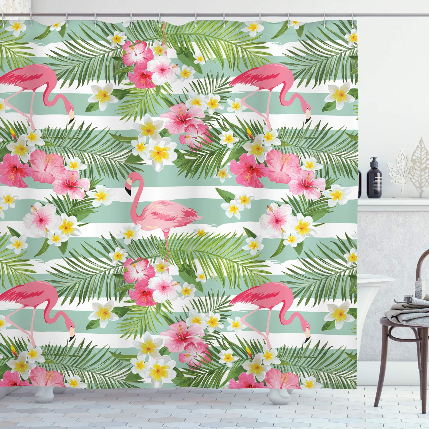 """Ambesonne Flamingo Shower Curtain, Flamingos with Exotic Hawaiian Leaves Flowers on Striped Vintage Background, Cloth Fabric Bathroom Decor Set with Hooks, 70"""" Long, Green Pink"""