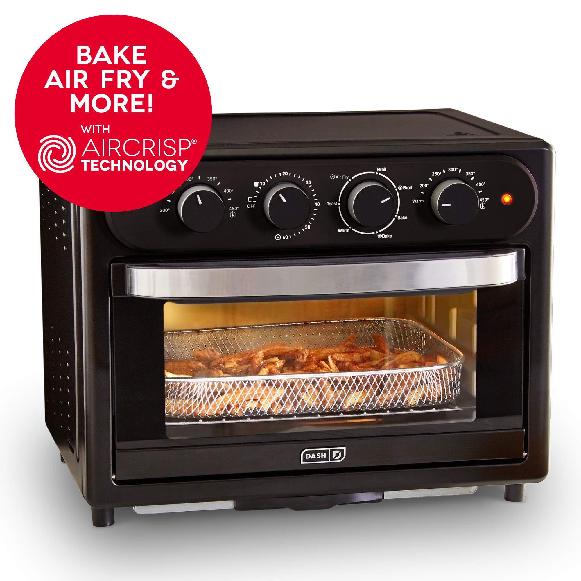 DASH DAFT2300GBBK01 Chef Series 7 in 1 Convection Toaster Oven Cooker, Broiler + Electric Air Fryer with Non-stick Fry Basket, Baking Pan & Rack, Drip Tray & Recipe Book, 23L, Matte Black