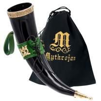 Mythrojan THE ELEGANT LADY Viking Drinking Horn with Green Leather holder Authentic Medieval Inspired Viking Wine/Mead Mug – Polished Finish