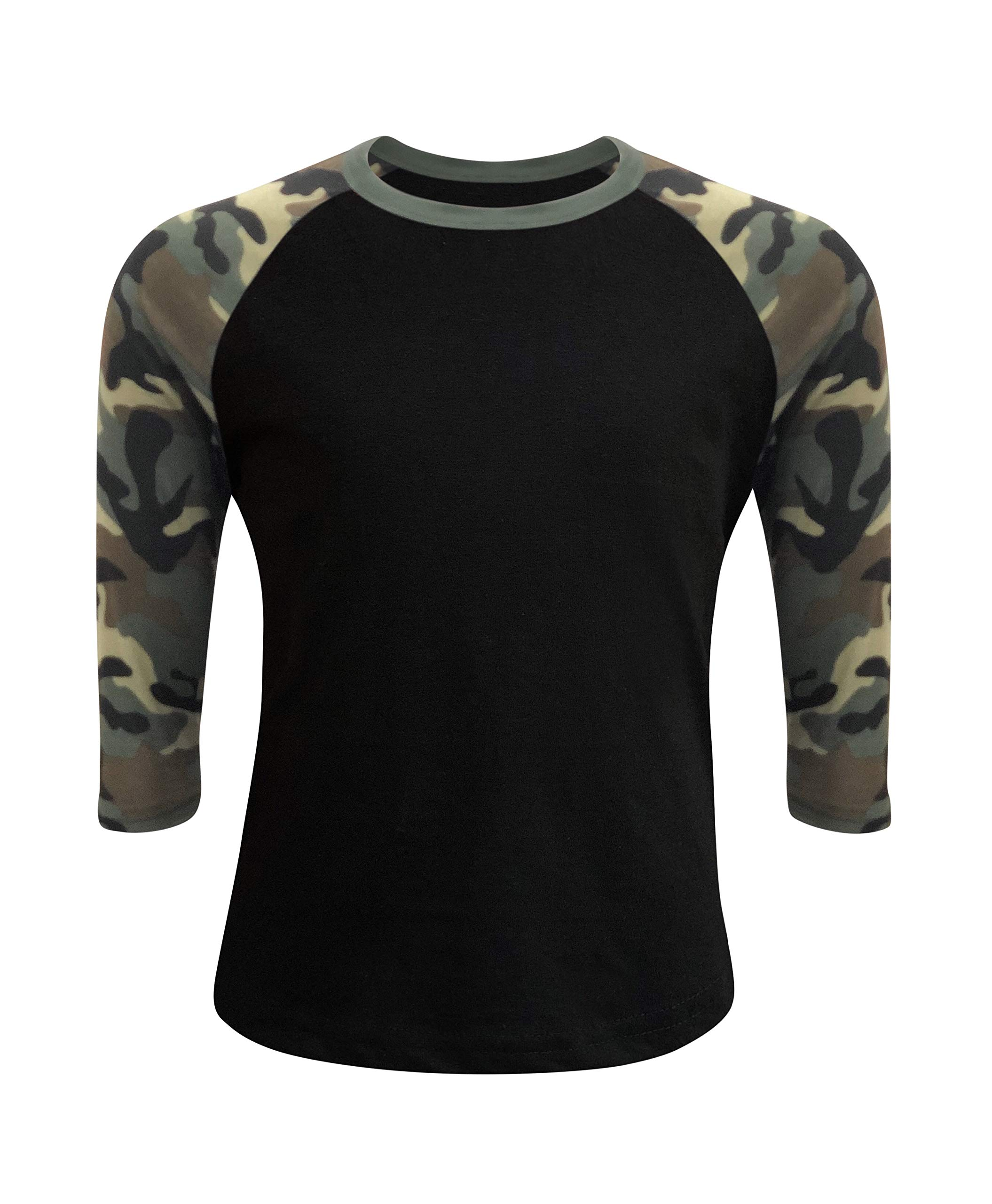ILTEX Kids & Youth Baseball Raglan T-Shirt 3/4 Sleeve Infant Toddler Youth Athletic Jersey Sports Casual (20+ Colors) (12 Months, Black/Camo)