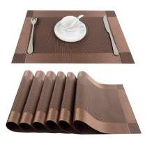 Top Finel Placemats, Vinyl Table Mats Set of 6, Heat Resistant Place Mats for Dining Table Washable Anti-Skid, Black Brown