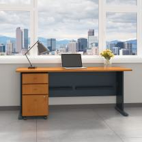 Bush Business Furniture Series A 72W Desk with Mobile File Cabinet in Natural Cherry and Slate