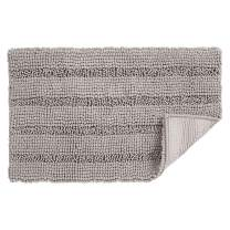uxcell 20 x 32 Inch Super Thick Soft Striped Shaggy Chenille Bath Mats Machine Washable Floor Bath Rugs for Bathroom, Non-Slip Dry Fast Water Absorbent Bath Mats Gray