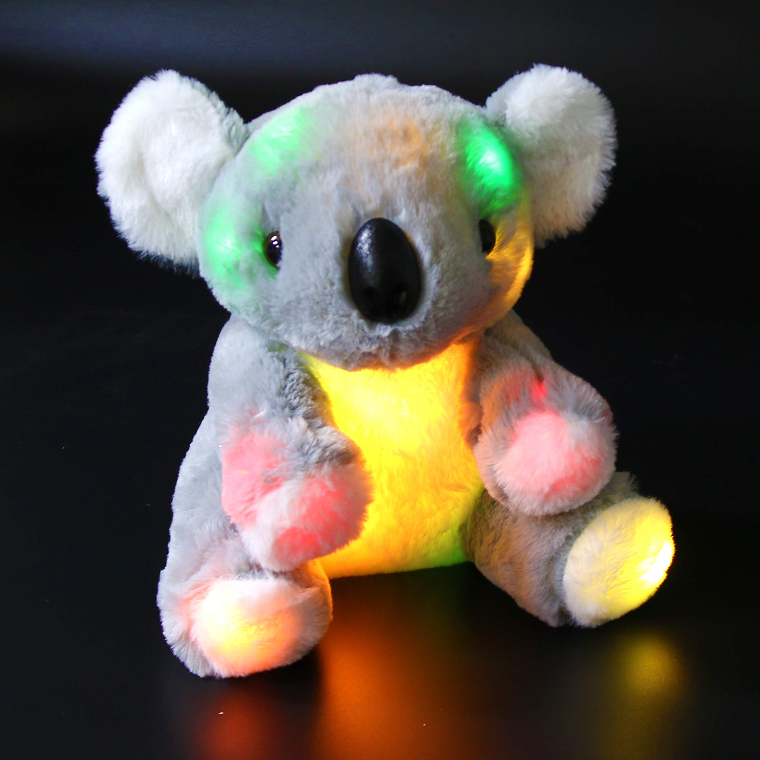 Bstaofy Light Up Gray Koala Bear Stuffed Animal LED Glow Soft Adorable Floppy Colorful Plush Toy Birthday for Kids Toddlers, 9.5''