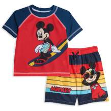 Disney Mickey Mouse Swim Rash Guard Swim Trunks Set Red/Navy