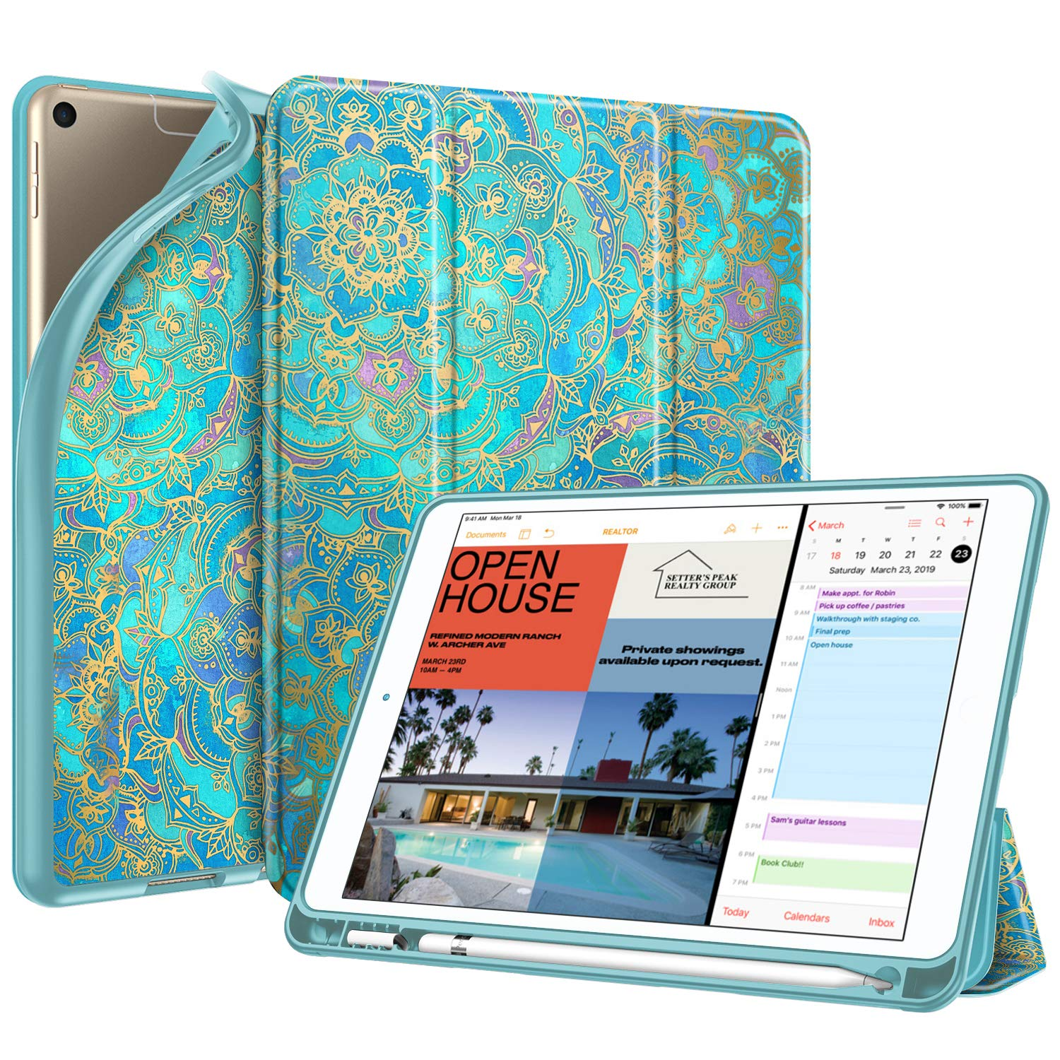 """Fintie SlimShell Case for iPad Air 3rd Gen 10.5"""" 2019 / iPad Pro 10.5 Inch 2017 with Built-in Pencil Holder - Lightweight Smart Stand Soft TPU Back Cover, Auto Wake/Sleep (Shades of Blue)"""
