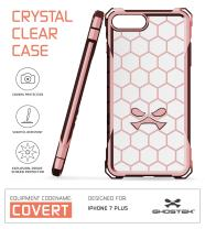 iPhone 7 Plus Case, Ghostek Covert Series for Apple iPhone 8 Plus Premium Hybrid Impact Protective Armor Case Cover | Clear TPU | Explosion-Proof Screen Protector | Ultra Fit | Spring Corners (Peach)