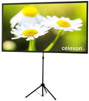 celexon 90 inch Portable, Lightweight Mobile Projector Screen with pre-Mounted Stand & Telescopic Pole Ultra-Lightweight - 72x54 inch - 4:3 - HD Premium Wrinkle-Free Tripod-Screen for Projector