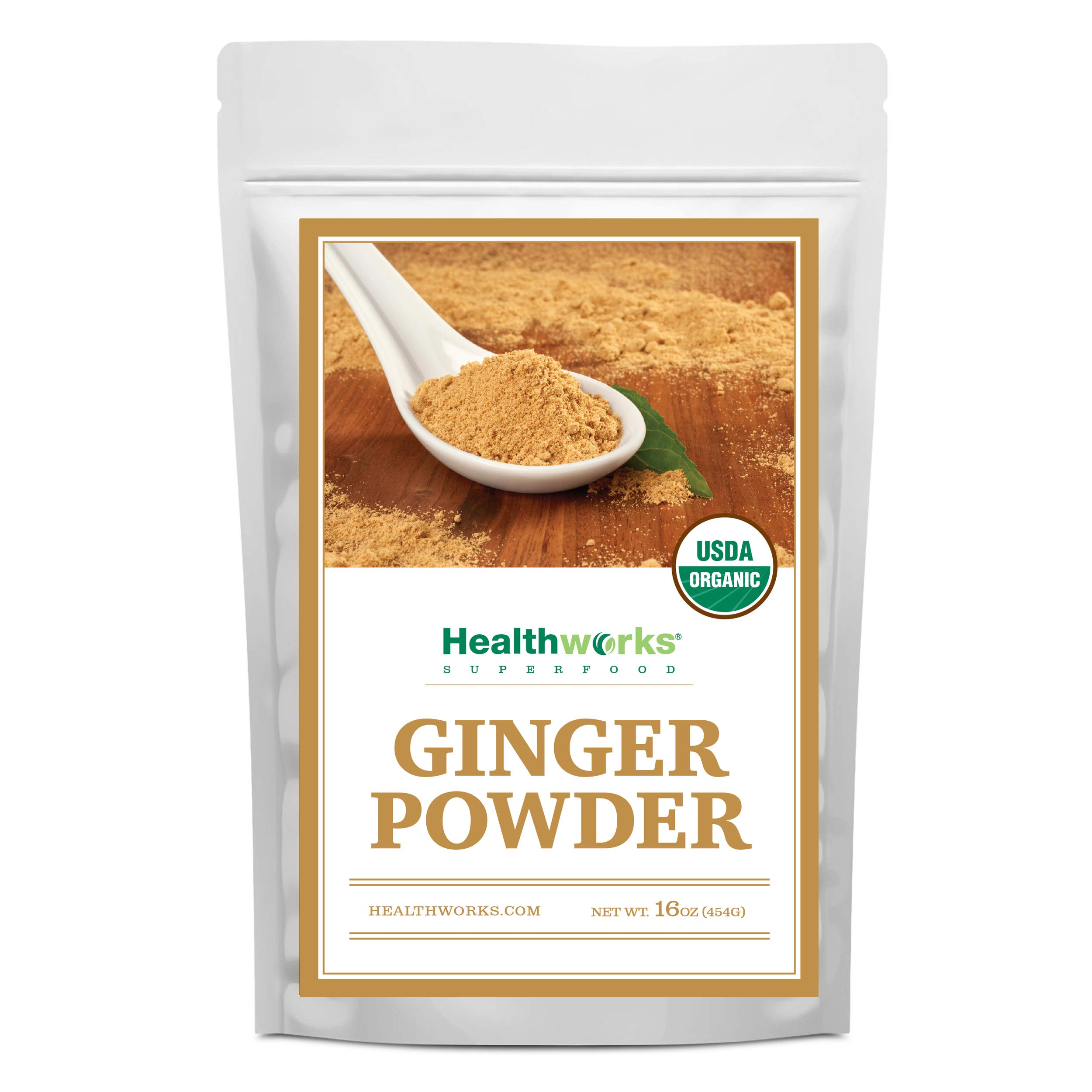 Healthworks Ginger Powder (16 Ounces / 1 Pound)   Ground   Raw   All-Natural & Certified Organic   Keto, Vegan   Great with Coffee, Tea & Juices   Superfood/Spice