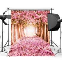 SJOLOON 10x10ft Spring Photography Backdrop Pink Flower Tree Photo Backdrop Cherry Blossoms Street Vinyl Backdrop CP Photography Background Prop 8461