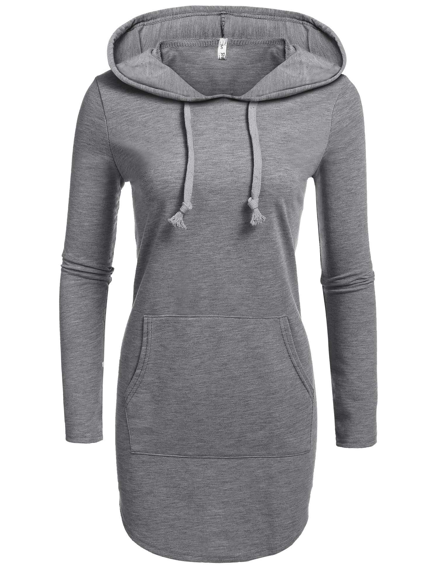 Beyove Women Long Pullover Hoodie Solid Long Sleeve Drawstring Hooded Sweatshirt Dress