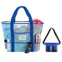 Gsung Mesh Beach Bag Toy Tote Bag Large Size Light Weight Market, Grocery & Picnic Tote Mesh Bags