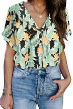 Aleumdr Women's Summer Casual V Neck Floral Printed Stripes Shirts Button Down Blouses Tops