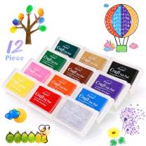 Washable Ink Pads, Finger Stamp Pads for Kids, 12 Color Craft Ink Pad for Rubber Stamps, Paper, Scrapbooking, Wood Fabric, Best Gift for Kids (12 Pack)