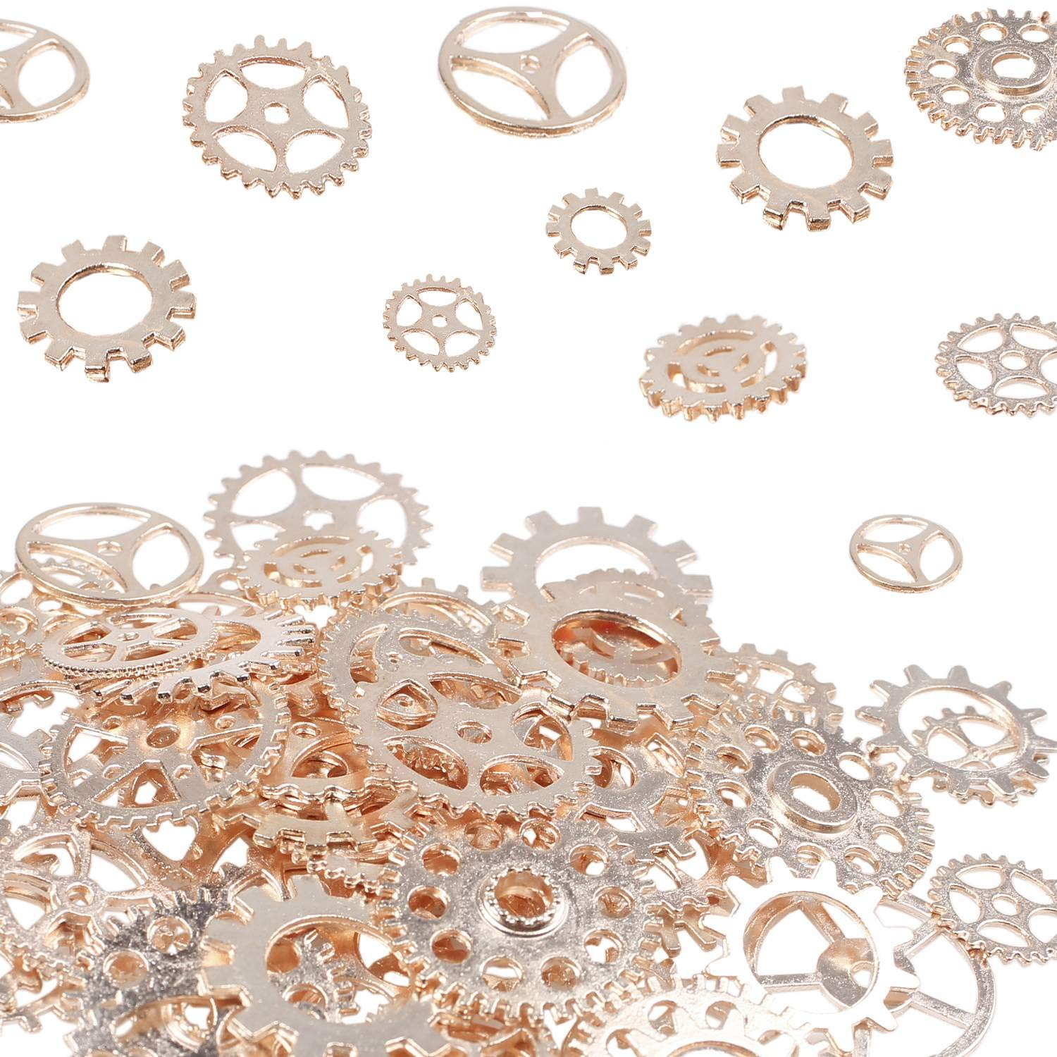 BIHRTC 100 Gram DIY Assorted Color Antique Metal Steampunk Watch Gears Cog Wheel Charms Pendants Craft Steampunk Accessories for DIY Crafting, Jewelry Making(Rose Gold)