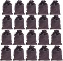 """IBLUE 5""""*7"""" Burlap Gift Pouches 20 Pack Drawstring Party Jewelry Wedding Favor Bag Candy Snack Sacks for DIY Craft Christmas Birthday P004 (Gray)"""