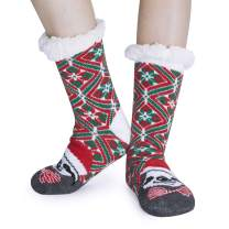 UNIFACO Women Christmas Slipper Socks Fleece Lining Fuzzy Soft Mid Calf Knit Stocking for Xmas Santa Gift