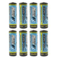 (8-Pack) HyperPS 3.2V LiFePo4 14430 (14 x 43mm) 400mAh Rechargeable Battery for Solar Panel Light, Tooth Brush, Shaver, Flashlight