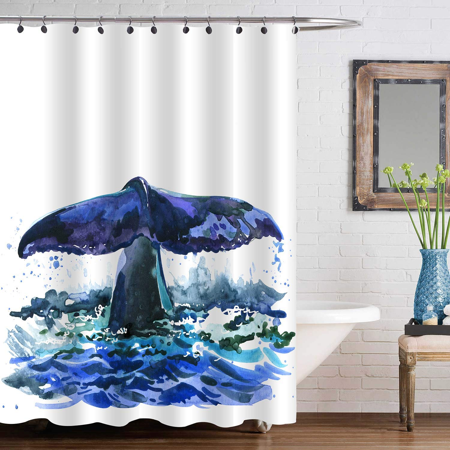 """MitoVilla Whale Tail Shower Curtain, Watercolor Ocean Wildlife Bathtub Shower Decorations for Animal Lovers, Baby, Kids and Children Gifts, Navy Blue, 72"""" W x 72"""" L Standard for Bathroom Shower Tub"""