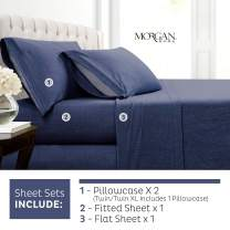 Morgan Home Cotton Rich T-Shirt Soft Heather Jersey Knit Sheet Set - All Season Bed Sheets, Warm and Cozy (Full, Heather Indigo)