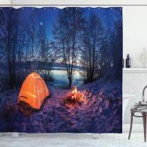 """Ambesonne Forest Shower Curtain, Dark Night Camping Tent Photo in The Winter on The Snow Covered Lands by The Lake, Cloth Fabric Bathroom Decor Set with Hooks, 84"""" Long Extra, Blue Orange"""