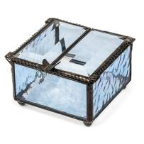 Blue Glass Jewelry Box Double Hinged Lid with Butterfly Accent Keepsake Display Trinket Dish Decorative Vintage Home Décor J Devlin Box 185-3
