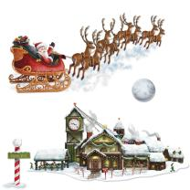 Santa's Sleigh & Workshop Props Party Accessory (1 count) (4/Pkg)
