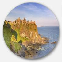 Designart MT11775-C11 Dunluce Castle in Northern Ireland Seascape Round Wall Art- Disc of 11,,X 11