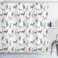 "Ambesonne Deer Shower Curtain, Animals with Old Text Pattern Christmas Theme Vintage Inspired Illustration, Cloth Fabric Bathroom Decor Set with Hooks, 70"" Long, Turquoise Beige"