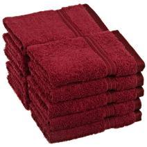 SUPERIOR 10-Piece Face Towel Set, Long-Staple Combed Cotton, Burgundy