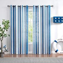 White Blue Sheer Window Curtain Panels for Living Room Wrinkle Free 84 inches Grey Modern Vertical Stripes Semi-Sheer Drapes for Windows 2 Pack Geometric Lines Navy Grommet Top