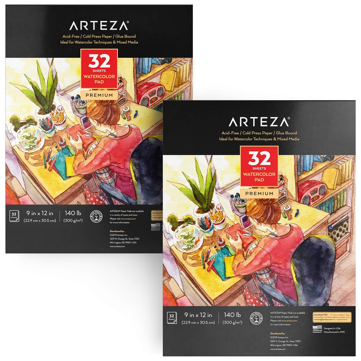 ARTEZA Watercolor Paper 9x12 Inch, Pack of 2, 64 Sheets (140lb/300gsm), Cold Pressed Art Sketchbook Pad for Painting & Drawing, Wet, Mixed Media