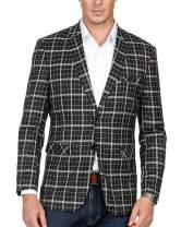 Men's Stylish Grid Pattern Notch Lapel Split 2-Button Blazer Coat(Black,L)
