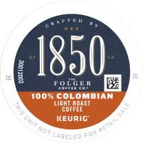 1850 by Folgers 100% Colombian Light Roast Coffee, 60 Keurig K-Cup Pods