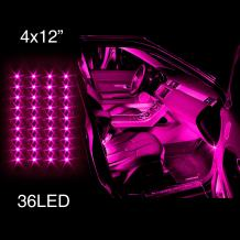PINK 4pcs 36 LED Waterproof Three Mode Neon Accent light Kit for Car Interior Trunk Truck Bed Bush Fender