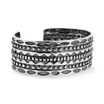 American West Sterling Silver Symbol Engraved Wide Cuff Bracelet Size S, M, L or XL
