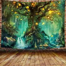 """DBLLF Fantasy Forest Wall Tapestry A Large Life Tree in Forest Tapestry Fantasy Plant Magical Forest Tapestry,Queen Size 80""""x60"""" Flannel Art Tapestriesfor Home Decor Wall Hanging DBZY1153"""