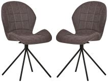 Rivet Rachel Set of 2 Space-Age Modern Mid-Century Dining Kitchen Swivel Chairs, 35.2 Inch Height, Synthetic Leather, Charcoal Grey