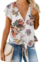 Women Floral Printed Tie Front V Neck Short Sleeve Tops Summer Button Down Shirts Loose Blouses (White-46 XL)